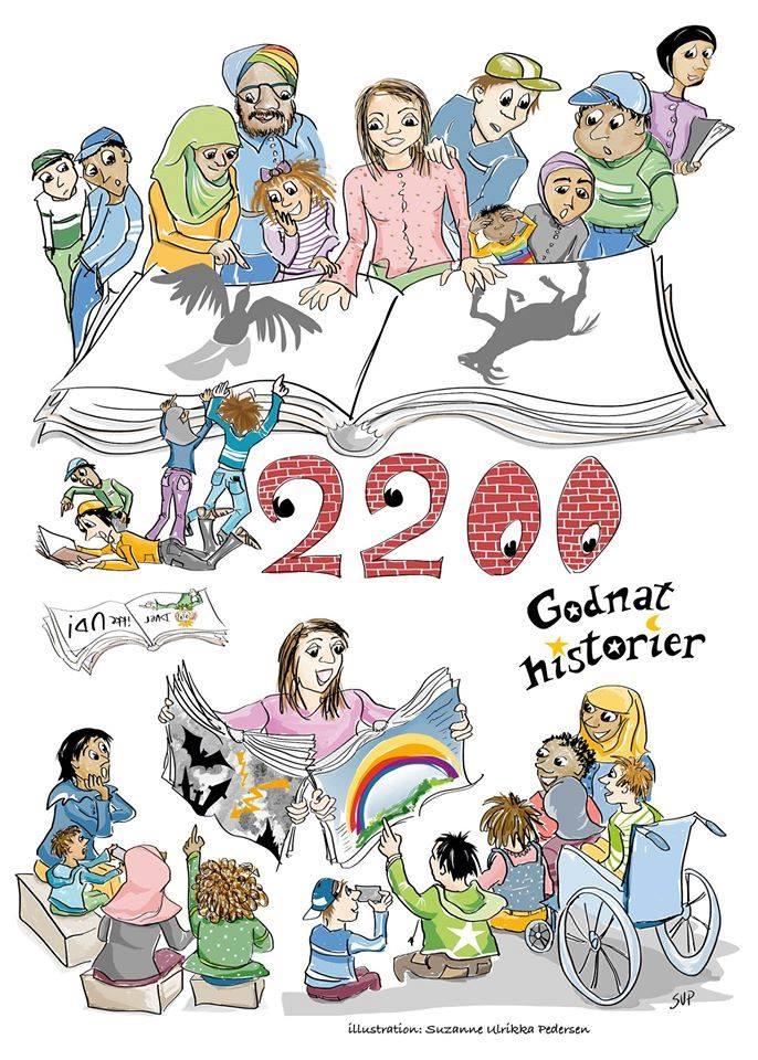 2200Godnathistorier vinder af Klods-Hans prisen 2015. Illustration af Suzanne Ulrikka Pedersen